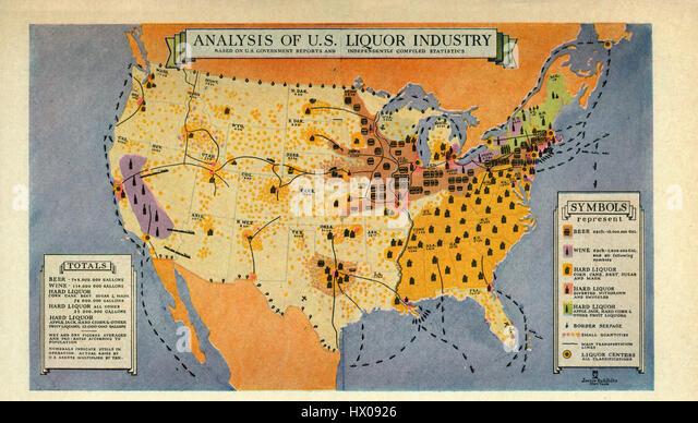 Analysis of U.S. Liquor Industry, 1931 - Stock-Bilder