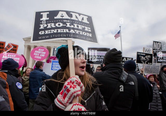 Pro-Life activist at 2017 March for Life rally - Washington, DC USA - Stock Image
