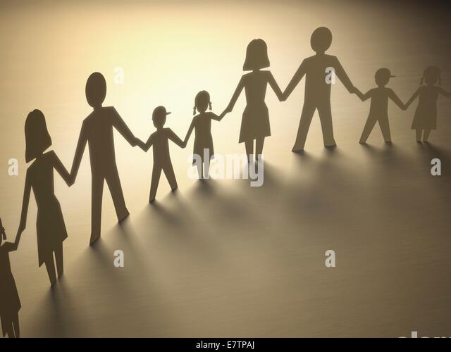 Paper chain of family, computer artwork. - Stock-Bilder