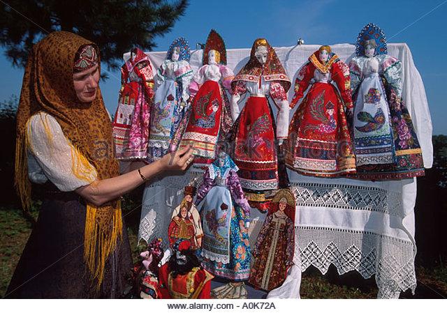 Russia former Soviet Union Uglich fairy tale doll vendor near Uglich Kremlin - Stock Image
