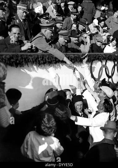 Adolf Hitler attends an ice hockey match in Garmisch, 1936 - Stock Image