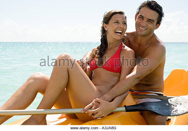 Couple canoeing - Stock Image