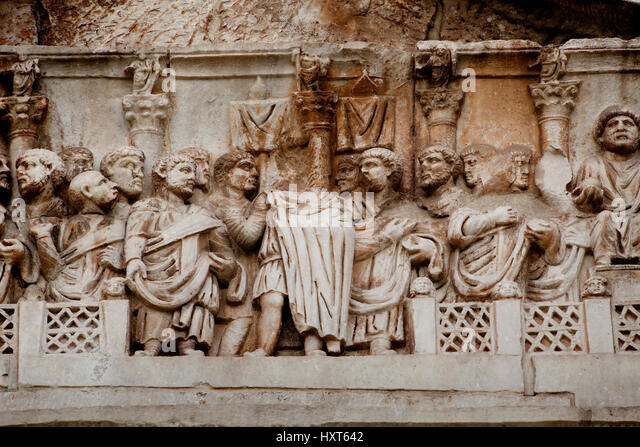 A detail view of the frieze on the north side of the Arch of Constantine in Rome, Italy. - Stock Image