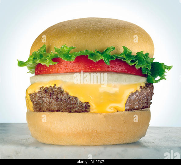 Cheeseburger with tomato - Stock Image