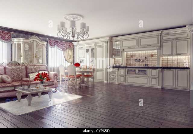 luxury kitchen interior in classic style (3D rendering) - Stock Image