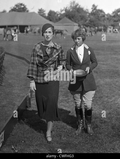 Mrs John V Bouvier III & Miss Jean D Olcott (daughter of Mrs Dudley Olcott) at the Piping Rock Horse Show, Long - Stock Image