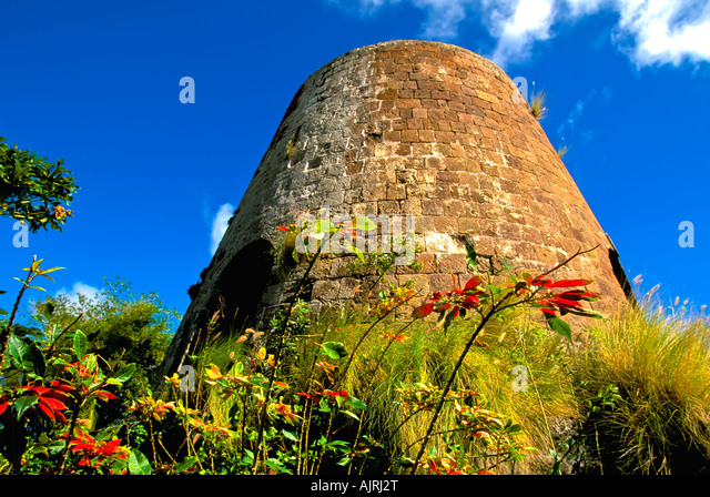 Island of Nevis St Kitts and Nevis Caribbean, sugar windmill tower, historic ruin, famous location, Montpelier House, - Stock Image