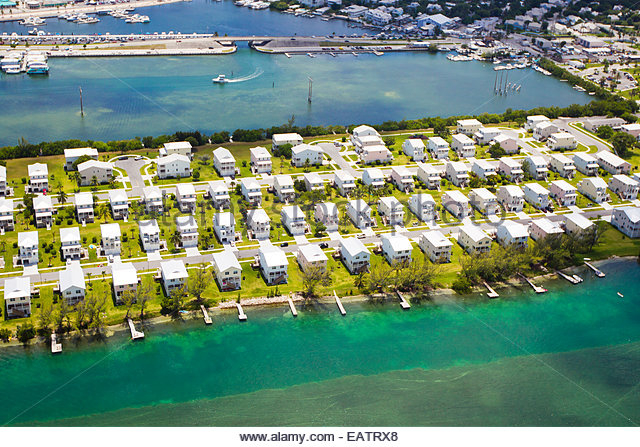 Aerial of homes in a neighborhood in Key West, Florida. - Stock-Bilder