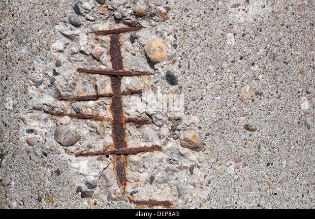 Reinforced Concrete Pillar Corroded - Stock Image