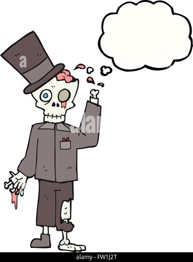 freehand drawn thought bubble cartoon posh zombie - Stock Image