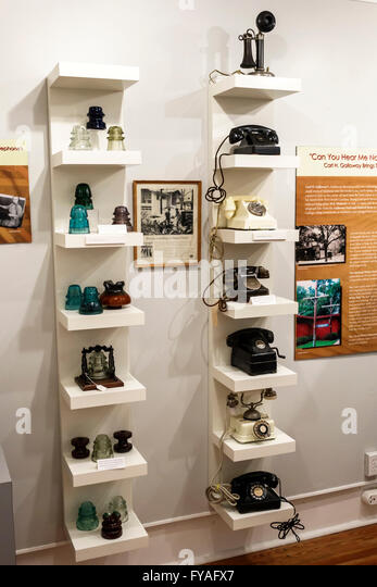 Orlando Florida Maitland Maitland Historical Telephone Museum inside exhibit telephones - Stock Image