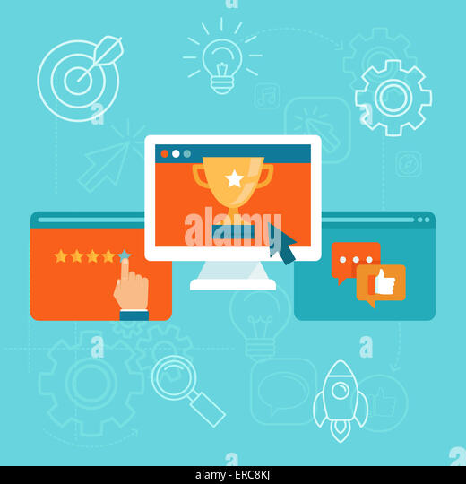 Seo concept in flat style - top ranking website on the screen of computer - positive customer reviews and good ratings - Stock-Bilder