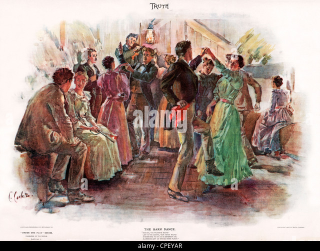 The Barn Dance, 1897 American Truth magazine illustration of a country dance, part of the Under One Flag, Pleasures - Stock Image