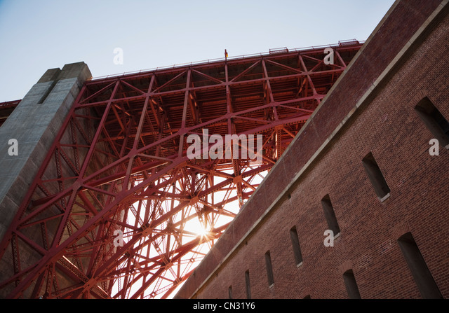 Fort Point and truss arch of the Golden Gate Bridge, San Francisco, California, USA - Stock Image