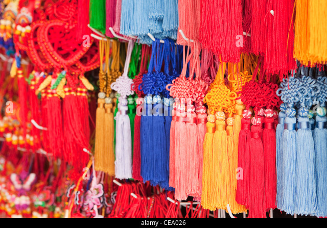 Love knots for sale; Yuyuan Bazaar; Shanghai; China - Stock Image