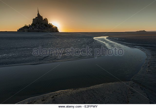 France Manche Bay of Mont Saint Michel listed as World Heritage by UNESCO Mont Saint Michel crossing the Bay of - Stock Image