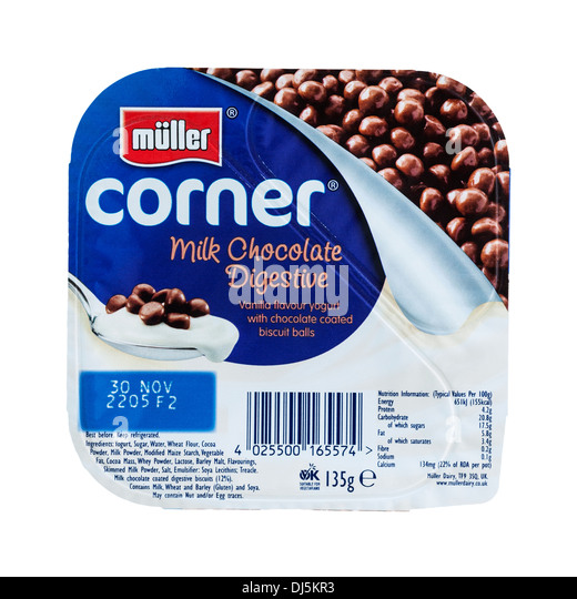 A Muller corner yogurt on a white background - Stock Image