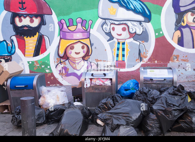 Underground rubbish/recycling containers for household waste on Tenerife, Canary Islands, Spain. - Stock Image