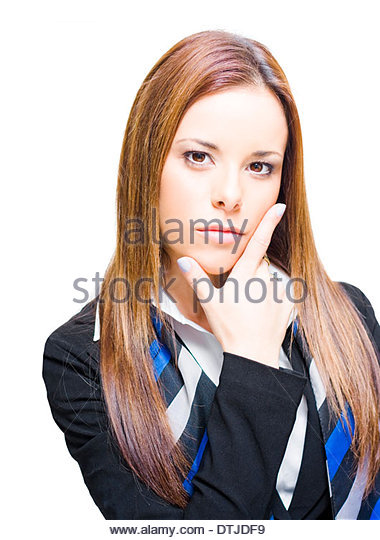 Business Woman Thinking Ahead With Business Vision While Gestures A V For Victory, Creative Solution And A Visionary - Stock Image