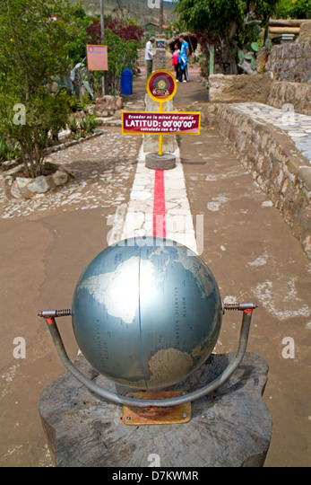 The line of the equator at the Museo Solar Inti Nan in Quito - Stock Image