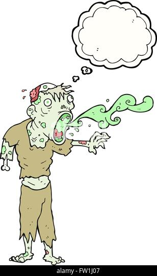 freehand drawn thought bubble cartoon gross zombie - Stock Image