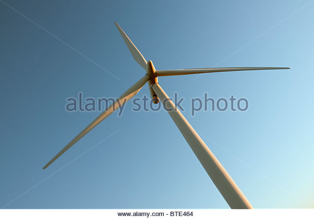 Wind turbine against sky - Stock Image