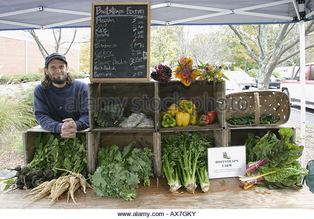 West Virginia Lewisburg Saturday Farmers Market Bootstrap Farms organic vegetables locally grown produce - Stock Image