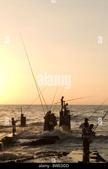 Fishermen, Corniche, Beirut, LEBANON. - Stock Image