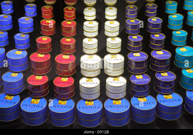 Germany Frankfurt am Main Airport FRA terminal gate area concourse shopping retail display for sale Prunier caviar - Stock Image