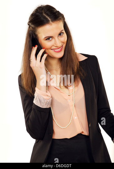 Cheerful young entrepreneur on a business call - Stock-Bilder
