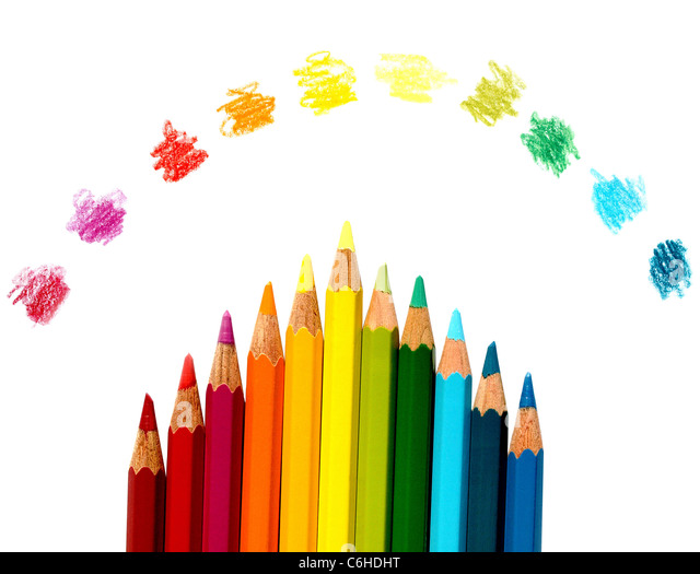 Multi colored pencil for school education - Stock Image