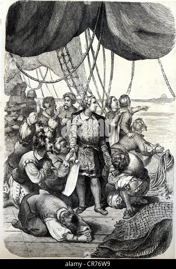 Columbus, Christopher, 1451 - 1506, explorer, image from the book'Das Leben des Meeres'(life in the sea), - Stock-Bilder