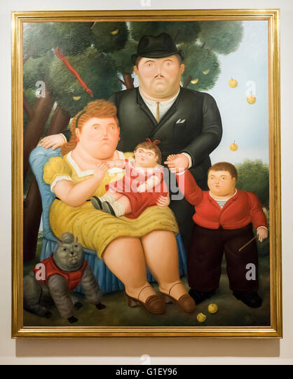 A Family I painting by Fernando Botero at Botero Museum Bogota Colombia - Stock Image
