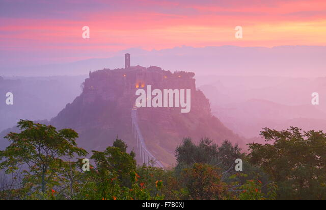 Bagnoregio at sunrise, Italy - Stock Image