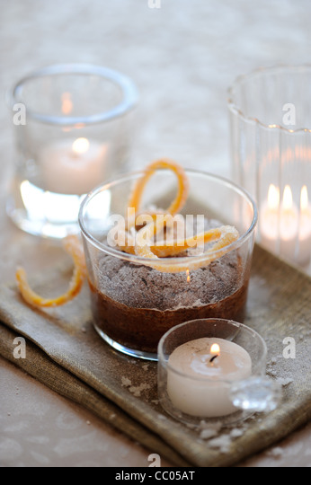 Chocolate Cake with Orange Skins - Stock Image