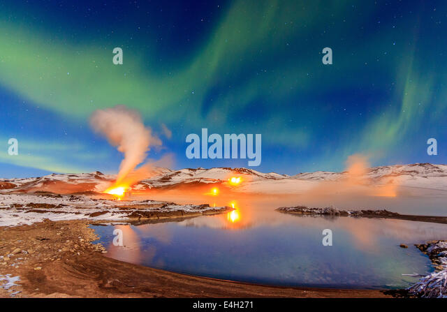 Namaskard thermal Power Plant on Bjarnarflag lake - Stock Image