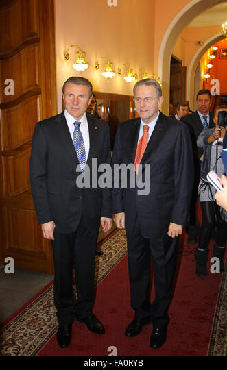 KYIV, UKRAINE - DECEMBER 17, 2010: President of Ukraine Olympic Committee Serhii Bubka (L) and President of International - Stock Image