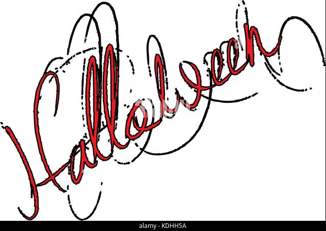 Illustration of Text message 'Halloween' on white background. - Stock Image