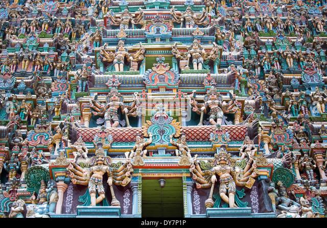 Detail on the Meenakshi Amman Temple, Madurai, India - Stock Image