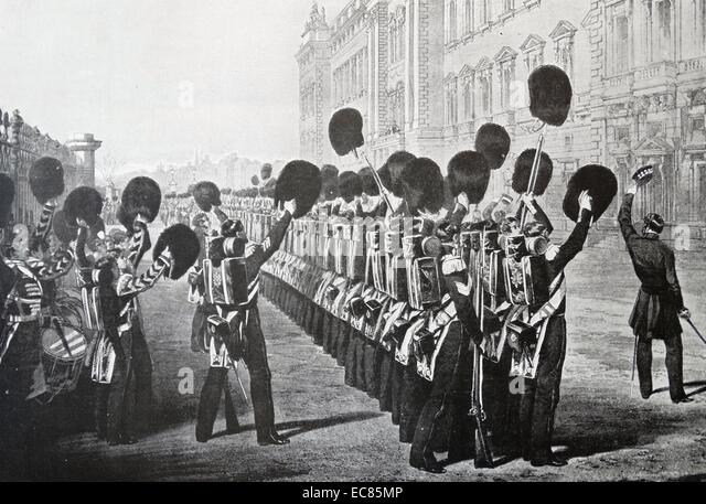 Engraving depicting troops departing for the Crimea cheering the Queen. Dated 1854. - Stock Image