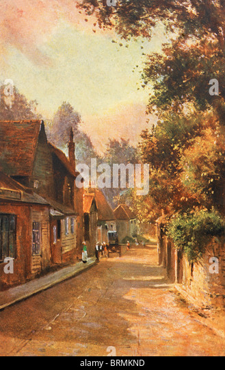 Old Picture of Cheam Village late 1800s - Stock-Bilder