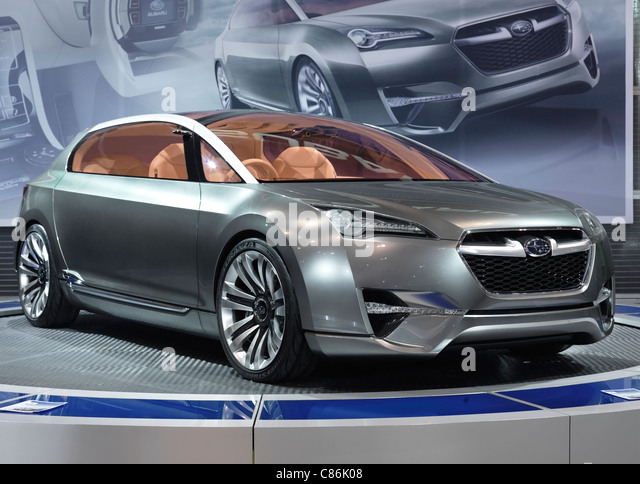 2010 Subaru Hybrid Tourer concept car at an auto show - Stock Image