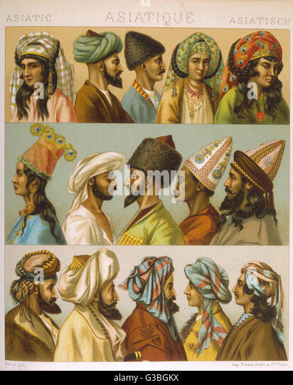 Depicting various styles of  headgear worn in 'Asia'  including brightly coloured  turbans, tall pointed - Stock-Bilder