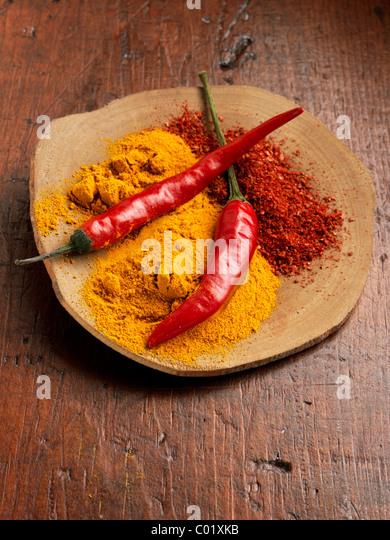 Chillies and chili powder - Stock-Bilder