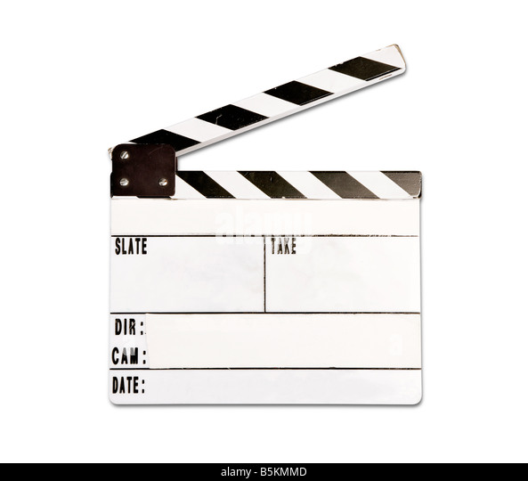 Real clap board with wear and tear isolated on white background - Stock-Bilder