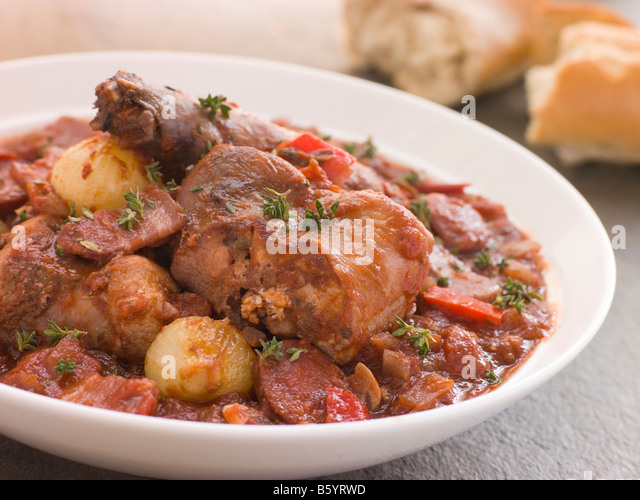Rabbit Bread Chorizo Stew with Button Onions - Stock Image