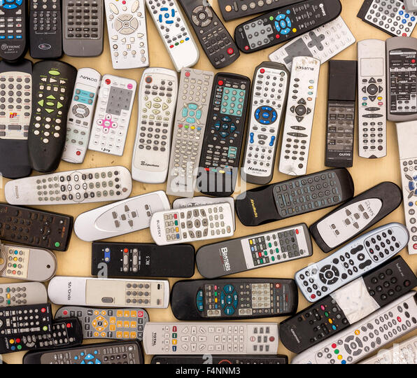 Remote controls, electronic waste - Stock Image