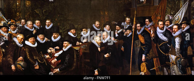 Dutch Netherlands The officers of the Orange Vendel leaving the town hall on the Groenmarkt by Jan Anthonisz. of - Stock Image