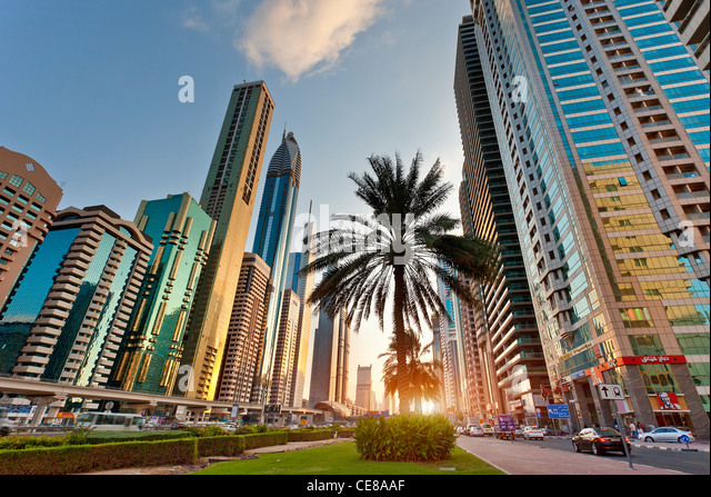 Asia, Arabia, Dubai Emirate, Dubai, Sheikh Zayed Road - Stock Image