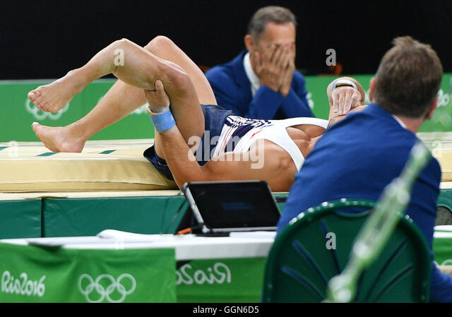 Rio de Janeiro, Brazil. 06th Aug, 2016. Samir Ait Said of France breaks his left leg while competing on the vault - Stock-Bilder